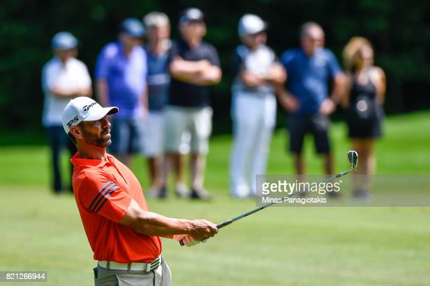 Matthew Picanso hits his approach shot towards the fourth hole during the final round of the Mackenzie Investments Open at Club de Golf Les Quatre...