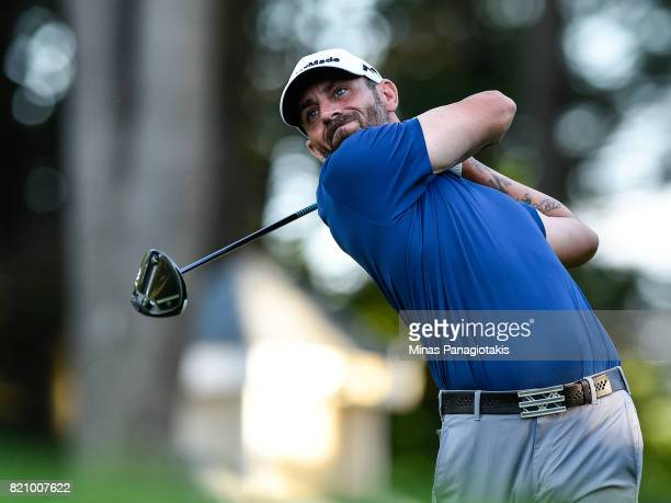 Matthew Picanso hits his tee on the first hole during round three of the Mackenzie Investments Open at Club de Golf Les Quatre Domaines on July 22...