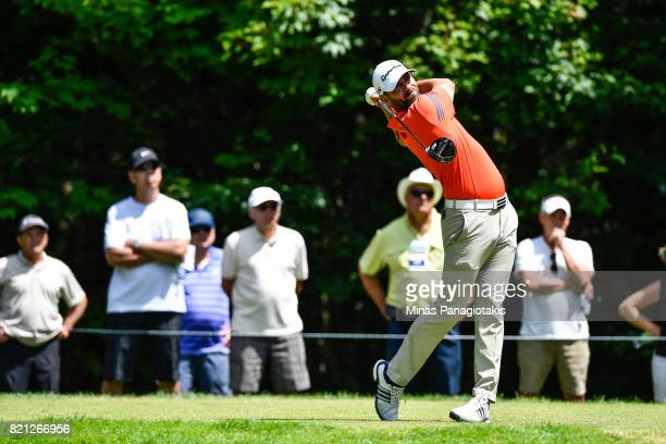 Matthew Picanso hits his tee shot on the fifth hole during the final round of the Mackenzie Investments Open at Club de Golf Les Quatre Domaines on...