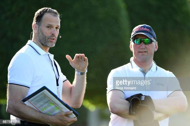 Matthew Pinsent and Martin Bayfield wait on the 1st hole during the BMW PGA Championship ProAm at Wentworth on May 24 2017 in Virginia Water England
