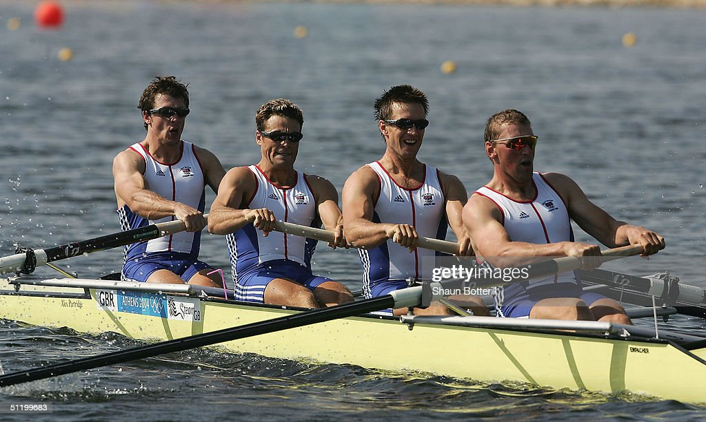 Matthew Pinsent, Ed Coode, James Cracknell, Steve Williams of Great Britain in the men's four event on August 21, 2004 during the Athens 2004 Summer Olympic Games at the Schinias Olympic Rowing and Canoeing Centre in Athens, Greece.