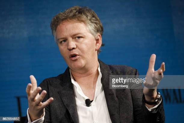 Matthew Prince cofounder and chief executive officer of CloudFlare Inc speaks during the Wall Street Journal DLive global technology conference in...