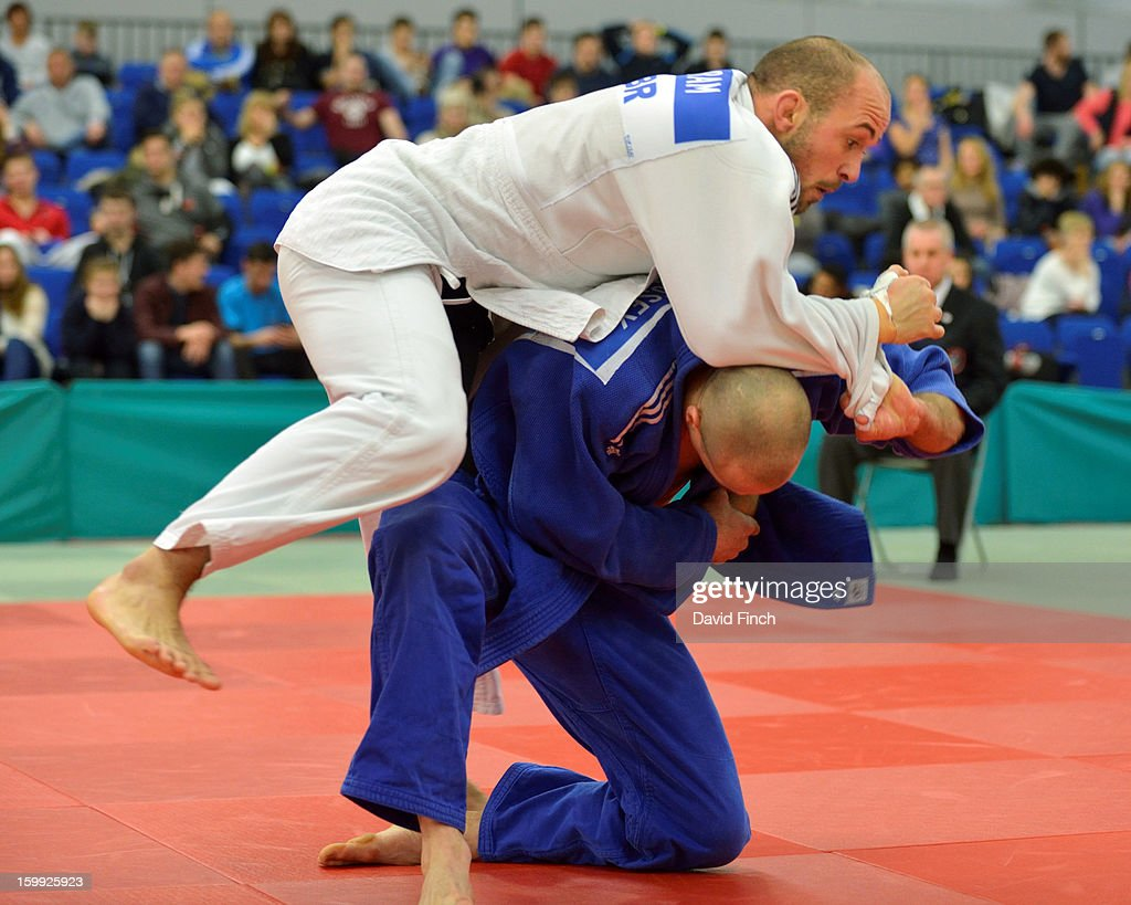 Matthew Purssey of Pinewwod (blue) defeated Sam Ingram in their final pool match by a wazari to confirm Purssey's number one position at the British Senior Judo Championships on Sunday, January 20, 2013 at the English Institute of Sport, Sheffield, England, UK.