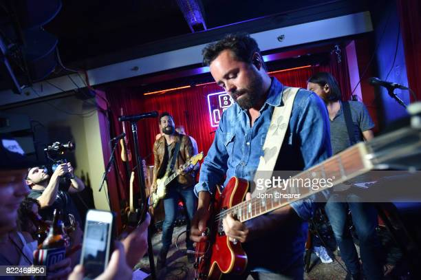 Matthew Ramsey left and Brad Tursi of Old Dominion perform at the 'Dive Bar Show Presented By Bud Light' at Blue Bar on July 24 2017 in Nashville...