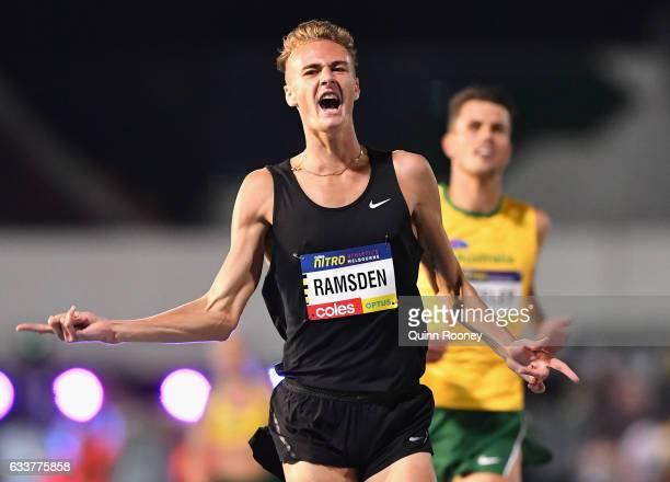 Matthew Ransden of Australia celebrates winning the Men's 1 Mile Elimination during Nitro Athletics at Lakeside Stadium on February 4 2017 in...