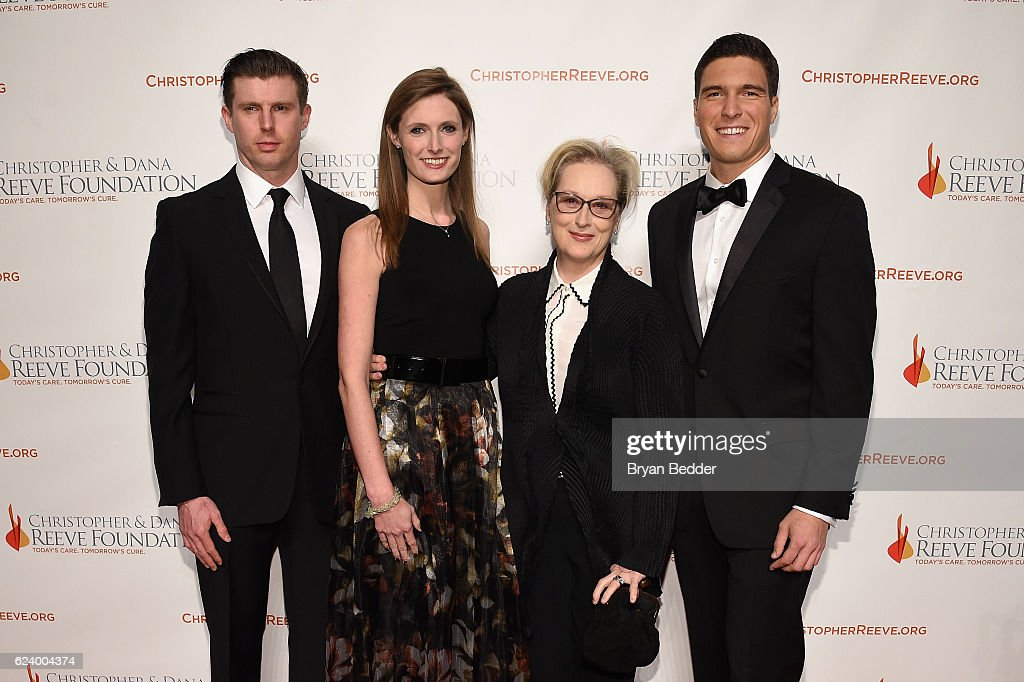 Matthew Reeve, Alexandra Reeve Givens, Meryl Streep and Will Reeve attend the Christopher & Dana Reeve Foundation hosts 'A Magical Evening' at Cipriani Wall Street on November 17, 2016 in New York City.