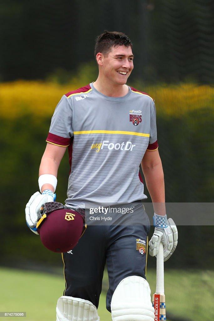 Matthew Renshaw looks on during an Australian cricket training session at Allan Border Field on November 15, 2017 in Brisbane, Australia.