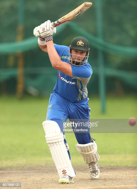 Matthew Renshaw of Australia bats during an Australian Test team nets session at SherE Bangla National Cricket Stadium on August 23 2017 in Dhaka...