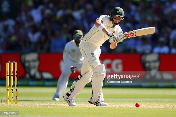 Matthew Renshaw of Australia bats during day four of the Third Test match between Australia and South Africa at Adelaide Oval on November 27 2016 in...
