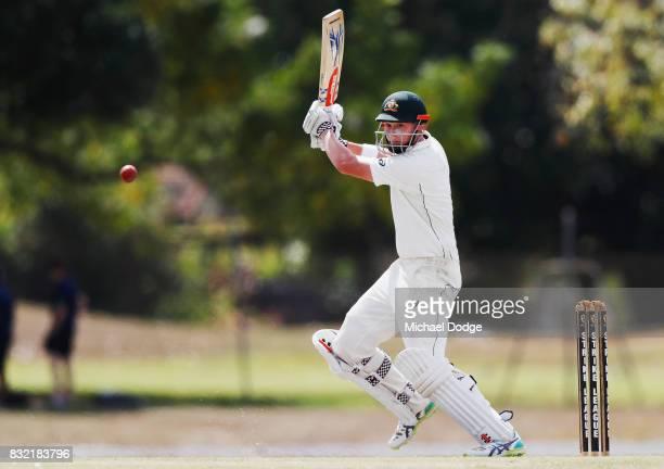 Matthew Renshaw of Australia bats during day three of the Australian Test cricket intersquad match at Marrara Cricket Ground on August 16 2017 in...