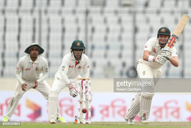 Matthew Renshaw of Australia bats during day two of the First Test match between Bangladesh and Australia at Shere Bangla National Stadium on August...