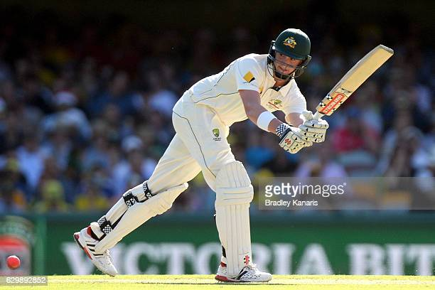 Matthew Renshaw of Australia plays a shot during day one of the First Test match between Australia and Pakistan at The Gabba on December 15 2016 in...
