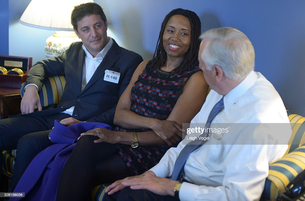 Matthew Rhodes and Kathryn Busby speak with Represetnative <a gi-track='captionPersonalityLinkClicked' href=/galleries/search?phrase=Steny+Hoyer&family=editorial&specificpeople=588093 ng-click='$event.stopPropagation()'>Steny Hoyer</a> during the Creative Coalition's Arts Team Arts Day on the Hill to focus national leaders on the efficacy of the arts on Capitol Hill on April 29, 2016 in Washington, DC.