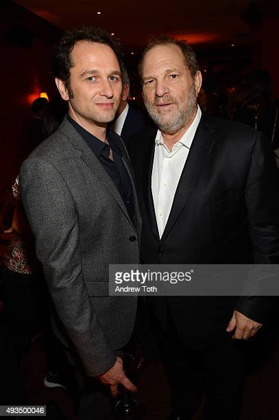 Matthew Rhys and Harvey Weinstein attend the New York premiere of 'BURNT' presented by The Weinstein Company Sassoregale Wine Castello Cheese and...