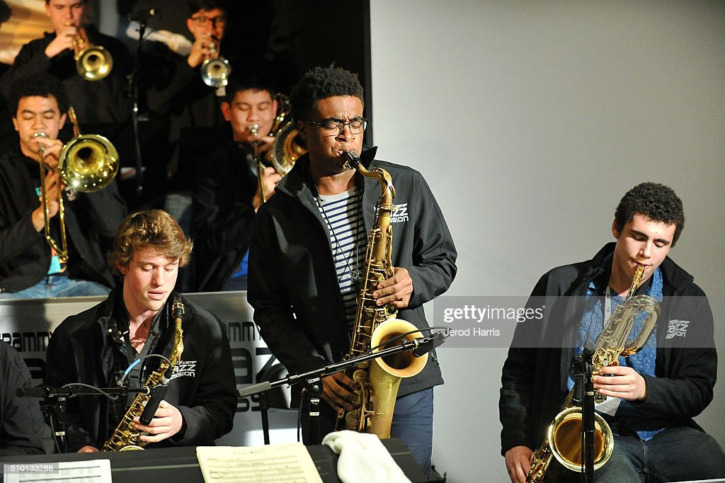 Matthew Richards Morgan Guerin and Ben Fitzpatrick perform at The 58th GRAMMY Awards GRAMMY Living Room Concert GRAMMY Camp Jazz Session at The...