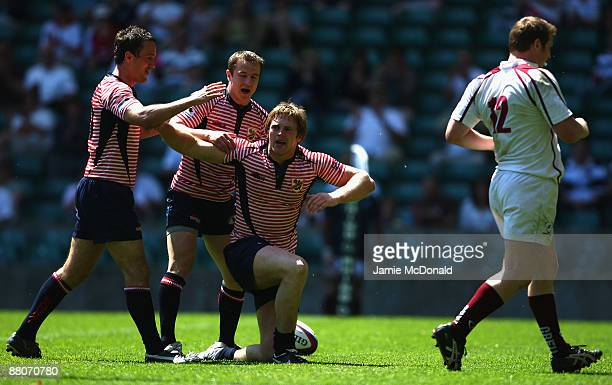 Matthew Riley of Lancashire celebrates his try during the Bill Beaumont Cup Final between Gloucestershire and Lancashire at Twickenham Stadium on May...