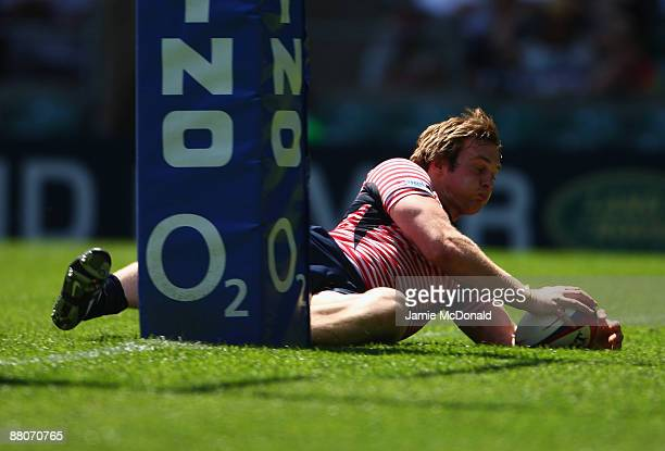 Matthew Riley of Lancashire scores a try during the Bill Beaumont Cup Final between Gloucestershire and Lancashire at Twickenham Stadium on May 30...