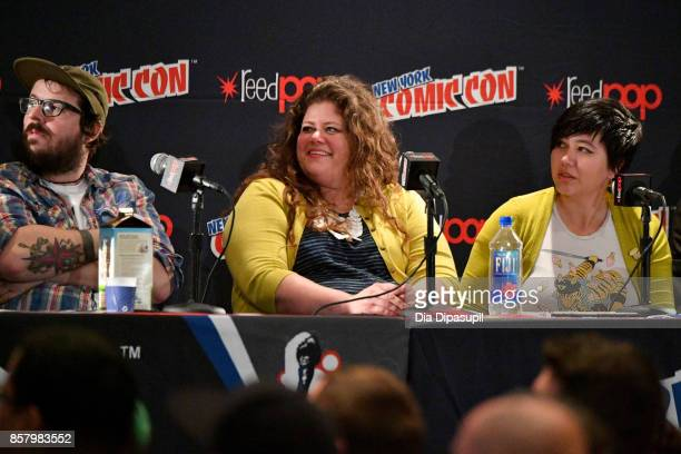 N Matthew Rosenberg Rainbow Rowell and Erica Henderson speak during 'Marvel Legacy Next Big Thing' at 2017 New York Comic Con Day 1 on October 5 2017...