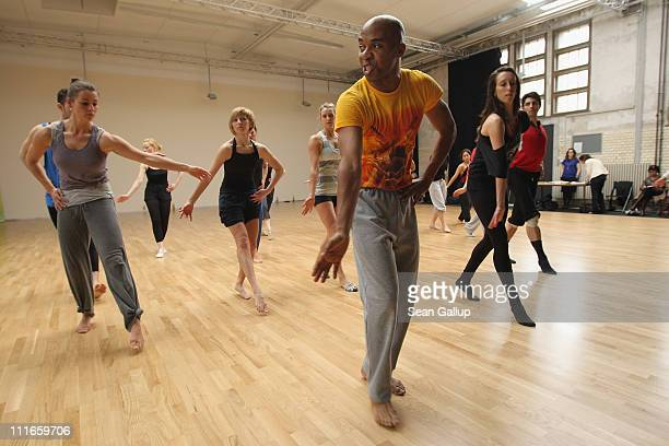 Matthew Rushing Rehearsal Director of the Alvin Ailey American Dance Theater leads dancers of the Deutsche Oper Berlin in a masterclass at the...