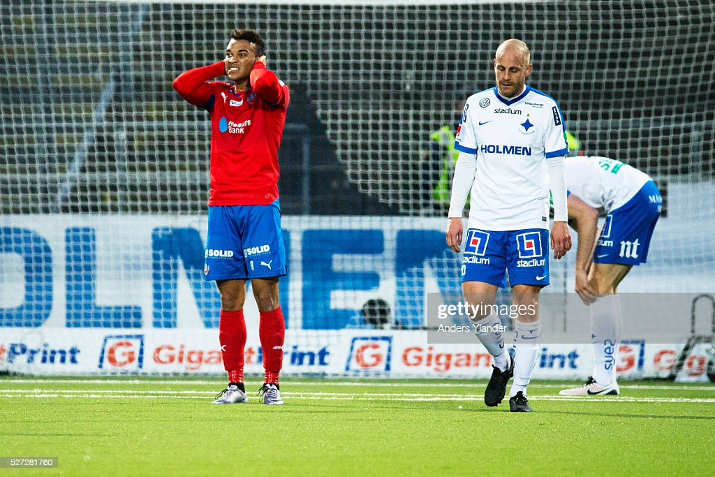 Matthew Rusike of Helsingborgs IF looks dejected after a missed chance during the Allsvenskan match between IFK Norrkoping and Helsingborgs IF at Ostgotaporten on May 2, 2016 in Norrkoping, Sweden.