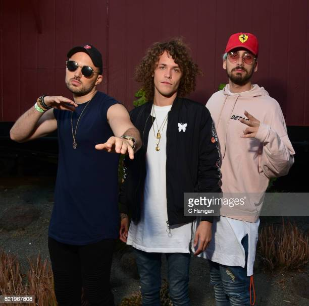 Matthew Russell Trevor Dahl and KEVI of Cheat Codes pose for a portrait session at California's Great America on July 14 2017 in Santa Clara...