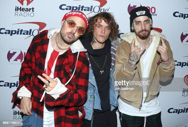 Matthew Russell Trevor Dahl and Kevin Ford of the Cheat Codes attends the Z100's iHeartRadio Jingle Ball 2017 at Madison Square Garden on December 8...
