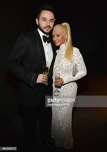 Matthew Rutler and Christina Aguilera attend the 2015 Vanity Fair Oscar Party hosted by Graydon Carter at the Wallis Annenberg Center for the...