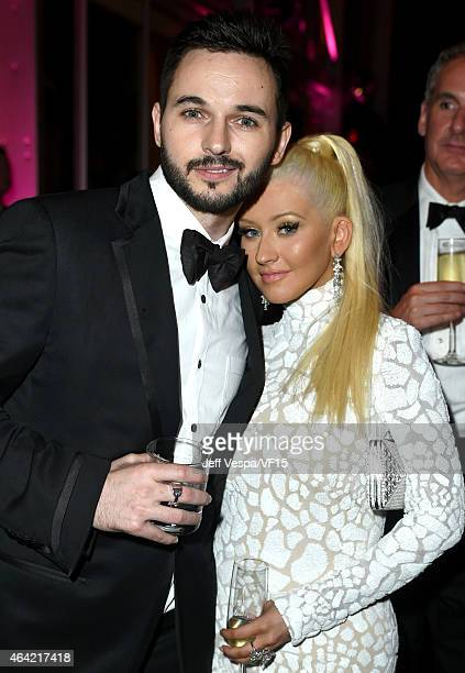 Matthew Rutler and Recording artist Christina Aguilera attend the 2015 Vanity Fair Oscar Party hosted by Graydon Carter at the Wallis Annenberg...