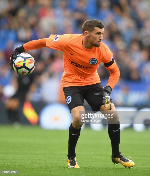 Matthew Ryan of Brighton in action during the Premier League match between Leicester City and Brighton and Hove Albion at The King Power Stadium on...