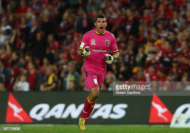Matthew Ryan of the Mariners celebrates after team mate Daniel McBreen scored his second goal of the match during the ALeague 2013 Grand Final match...