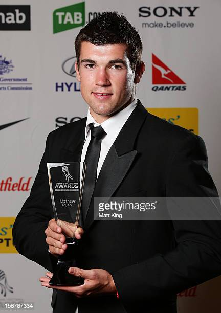 Matthew Ryan poses with the U20's Male Footballer of the Year Award during the 2012 Australian Football Awards at Sofitel Hotel on November 21 2012...