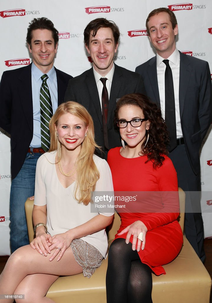 Matthew Saldivar, Carson Elrod, Eric Clem (bottom row L-R) Liv Rooth and Jenn Harris attend 'All In The Timing' 20th Anniversary Opening Night Reception at The Volstead on February 12, 2013 in New York City.