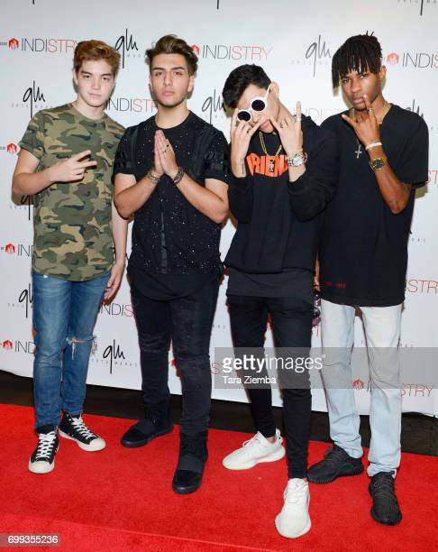 Matthew Sato Greg Marks Maxso and George Parimore attend Greg Marks 'Letting Go' single release party at Magnolia Park on June 20 2017 in Burbank...