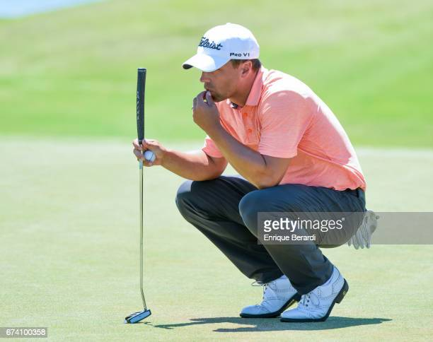 Matthew Schall of the United States lines up a putt on the 16th hole during the final round of the PGA TOUR Latinoamérica Honduras Open presented by...