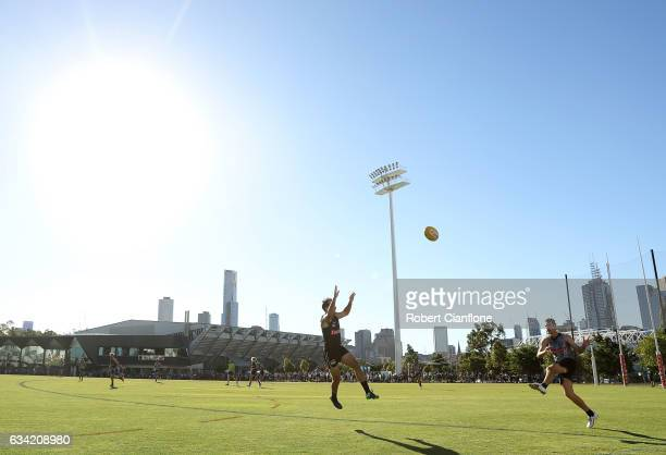 Matthew Scharenberg of the Magpies kicks the ball during the Collingwood Magpies AFL intraclub match at Olympic Park on February 8 2017 in Melbourne...