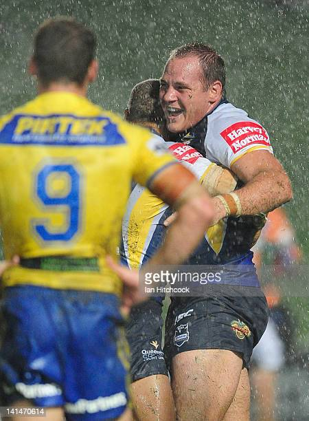 Matthew Scott of the Cowboys celebrates his try during the round three NRL match between the North Queensland Cowboys and the Parramatta Eels at...