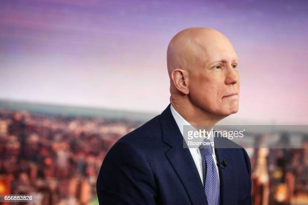 Matthew Shay president and chief executive officer of the National Retail Federation listens during a Bloomberg Television interview in New York US...