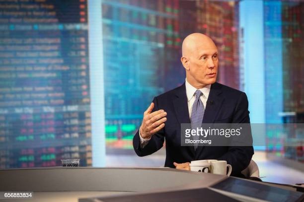 Matthew Shay president and chief executive officer of the National Retail Federation speaks during a Bloomberg Television interview in New York US on...