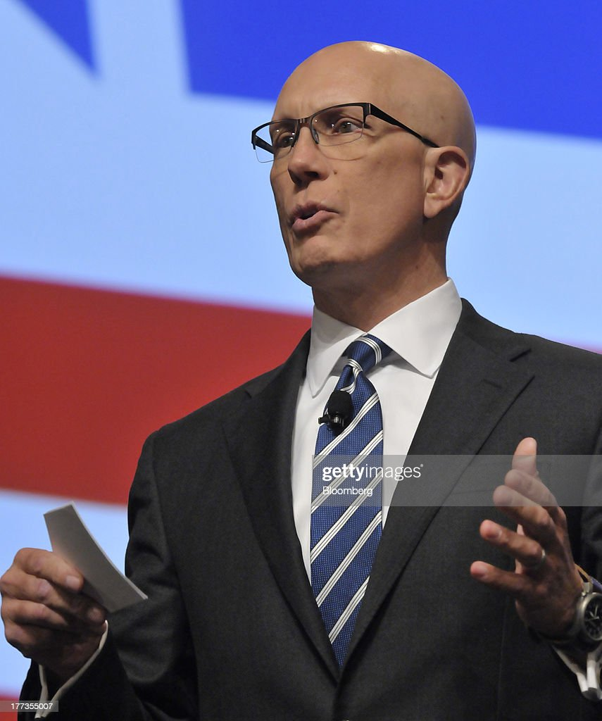 Matthew Shey, president and chief executive officer of the National Retail Federation, speaks at the Wal-Mart Manufacturing Summit in Orlando, Florida, U.S., on Thursday, Aug. 22, 2013. Wal-Mart Stores Inc.s U.S. chief Bill Simon urged companies to create domestic manufacturing jobs, saying the effort is good for businesses as it cuts costs by having goods produced closer to where they are consumed. Photographer: Jim Stem/Bloomberg via Getty Images