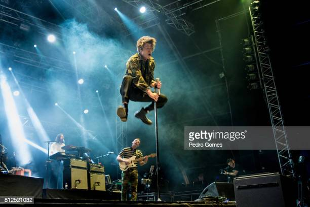 Matthew Shultz of Cage The Elephant performs on Heineken stage at day 3 of NOS Alive festival on July 8 2017 in Lisbon Portugal