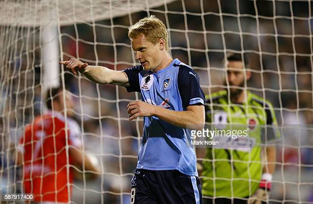 Matthew Simon of Sydney FC celebrates his first goal during the FFA Cup round of 32 match between the Wollongong Wolves and Sydney FC at WIN Stadium...
