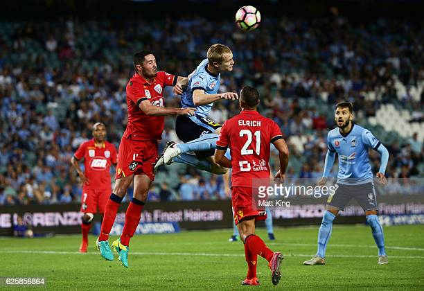 Matthew Simon of Sydney FC heads the ball during the round eight ALeague match between Sydney FC and Adelaide United at Allianz Stadium on November...