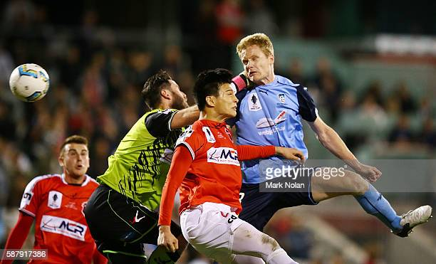 Matthew Simon of Sydney FC scores a goal during the FFA Cup round of 32 match between the Wollongong Wolves and Sydney FC at WIN Stadium on August 10...