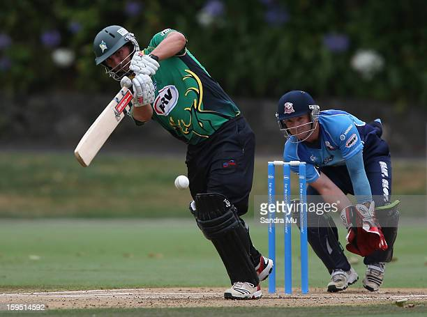 Matthew Sinclair of the Stags bats during the HRV Cup Twenty20 match between the Auckland Aces and the Central Stags at Eden Park on January 15 2013...