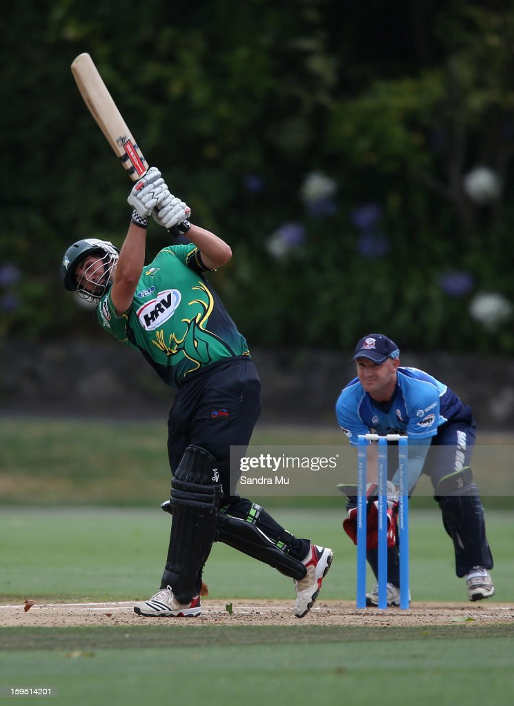 Matthew Sinclair of the Stags hits a four during the HRV Cup Twenty20 match between the Auckland Aces and the Central Stags at Eden Park on January 15, 2013 in Auckland, New Zealand.