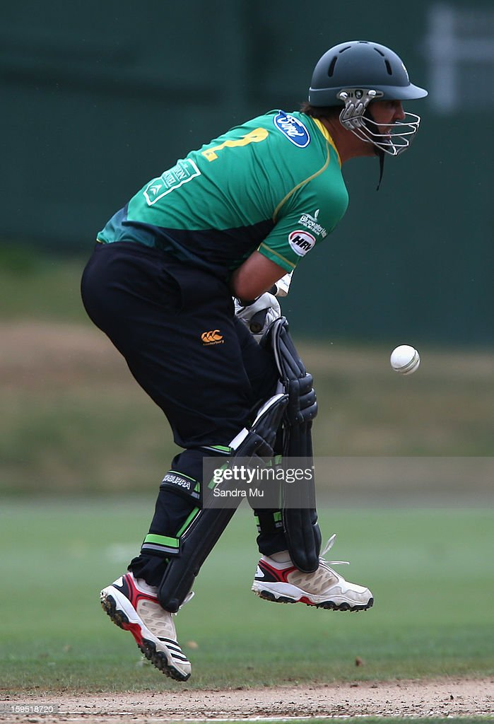 Matthew Sinclair of the Stags is hit by the ball during the HRV Cup Twenty20 match between the Auckland Aces and the Central Stags at Eden Park on January 15, 2013 in Auckland, New Zealand.