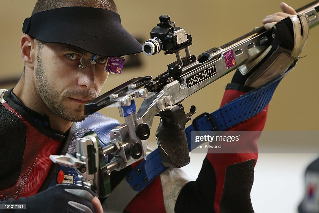Matthew Skelhon of Great Britain competes in the mixed R6-50m Rifle Prone- SH1 final round on day 6 of the London 2012 Paralympic Games at The Royal Artillery Barracks on September 4, 2012 in London, England.