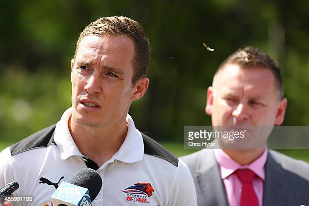 Matthew Smith of the Roar and Head of the Hyundai ALeague Damien de Bohu speak to media during the ALeague Championship trophy media opportunity at...