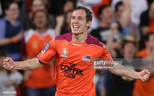 Matthew Smith of the Roar celebrates after scoring a goal during the round 13 ALeague match between the Brisbane Roar and Adelaide United at Suncorp...