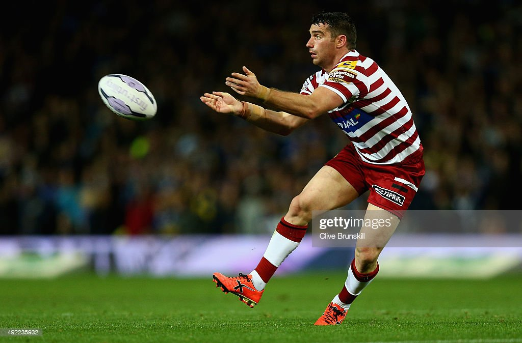 Matthew Smith of the Wigan Warriors in action during the First Utility Super League Grand Final between Wigan Warriors and Leeds Rhinos at Old...